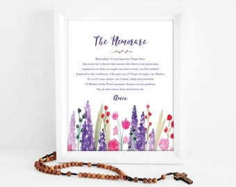 The Memorare| Prayer to Blessed Virgin Mary | Catholic Watercolor Art | 8x10 Print