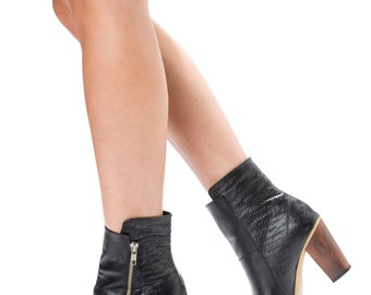 SALE Leather Boots. Black boots. Handmade boots. Ankle Boots. Heeled Boots. Winter Shoes- 50% Off!