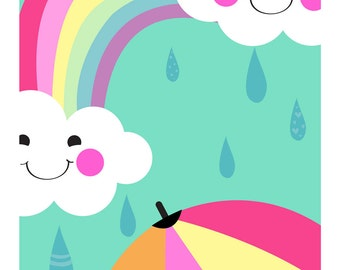 Rainbow and Clouds A4 print. Kids Print. Nursery art. Bright coloured Print, Rainow Print, Weather print. Girls Room