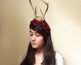 Deer antler headpiece real buck costume fascinator hat taxidermy oddity alternative halloween hair accessory bones skull woodland whimsical