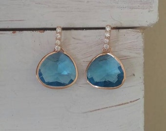 Dainty 14K Rose Gold Vermeil Plated Sterling Silver 925 Faceted Blue Glass & Sparkling CZ Accented Post Back Dangle Drop Earrings