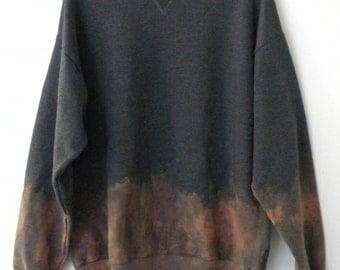 Gray Sweatshirt, Dip Dye crewneck sweatshirt, tie dye sweatshirt, grunge, Acid wash, rocker, retro, sweater, jumper, Large Unisex