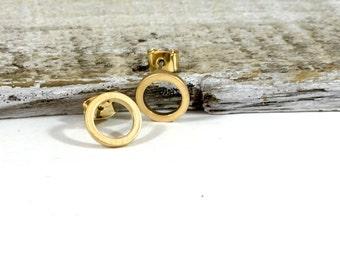 Gold Circle Post Earrings, Silver Circle Post Earrings, Wedding Jewelry, Bohemian Jewelry