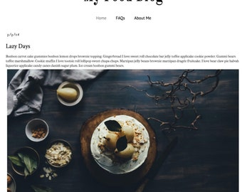 Responsive Premade Blogger Template - My Food Blog - INSTANT DOWNLOAD