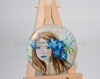 Pocket Mirror, Purse Mirror, Compact Mirror, Hand Mirror, Makeup Mirror, Small Mirror, Cosmetic Mirror, Glass Mirror, Fairy Gift, Blue Gift