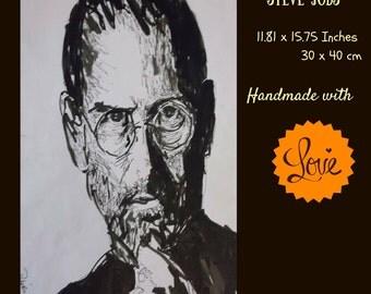 Hand gefertigteIllustration: Steve Jobs, original image, signed, unique, free shipping