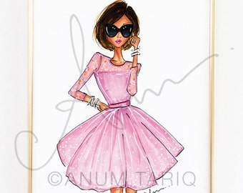 Fashion Illustration, The Pink Dress Print, 8x10""