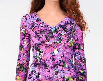 Printed top with purple blueberries