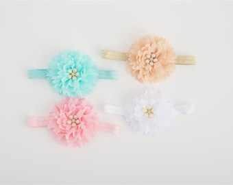 Infant Headband, baby headband, flower headband, baby girl accessories, baby shower gift, baby headbands, pink headbands, newborn photo pr