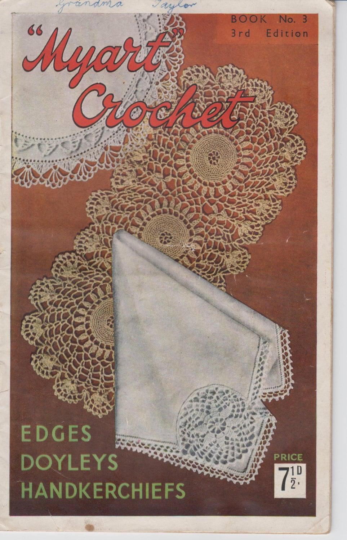 Crochet Lace Book Cover ~ Vintage crochet pattern book myart edges doyleys