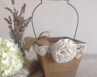 Flower girl basket, rustic wood pail, flower girl bucket with ivory lace personalized