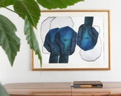 Large Blue Abstract Art, Turquoise Modern Art Print, Oversized Wall Poster, Contemporary Painting Artwork