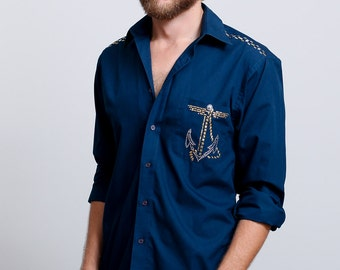 1990s Vintage Men's Hand-Altered Navy Blue  Sailor Button Down Shirt - S/M