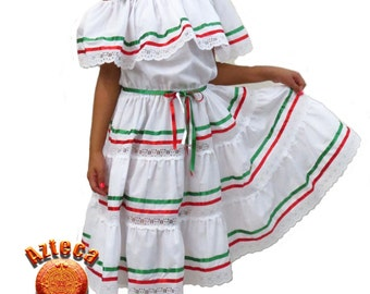 Mexican Girls Dress 3 Ribbons (Size 8)