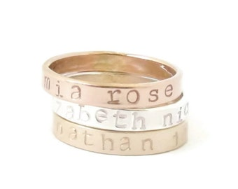 Personalized Mothers Ring, Mother Stacking Rings, Mothers Ring Gold, Stackable Mothers Ring, Rose Gold, Hand Stamped Ring, Mother's Day Gift