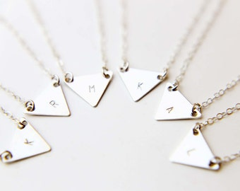 Triangle Initial disc necklace - 14K Gold filled/Sterling silver geometric necklace  EN011