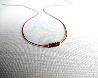 Handmade Micro Red Garnet & 925 Sterling Silver Karen Hill Tribe Bead Necklace; January Birthstone; Unique Garnet Necklace; Layering Jewelry