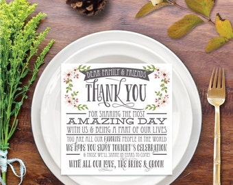 Wedding Thank You Place Card - Country Bloom White - Wedding Reception - Wedding Thank You - Place Setting Card - DIY - Instant Download