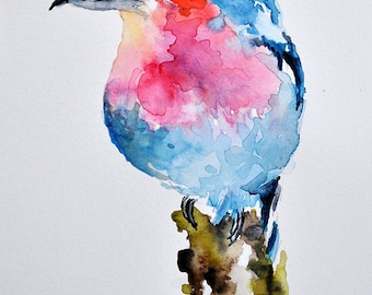 ORIGINAL Watercolor Bird Painting, Blue Pink Lilac Roller 6x8 Inch African Bird Art, Colorful Exotic Bird Painting