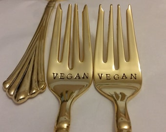 Vegan humane kitchen gold flatware 2 wedding forks 24K Gold plated New/ Vintage Hand stamped wonky gold forks Recycled Real photos gift box