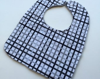 Remix Black and Grey Grids - Reversible Minky Bibs -Grey Minky - Boutique -Baby/Toddler
