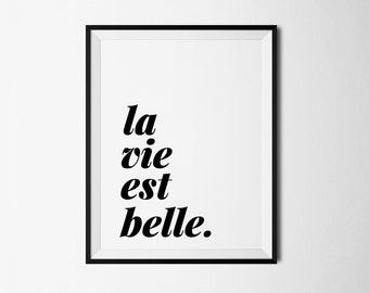 La vie est belle, french quote, french print, french printable, french digital, printable art, printable quote, french quote