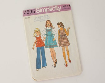 SIZE 10 7595 GIRL'S Simplicity Sewing Pattern Jumper or Top & Pants 1976 Vintage 1970s Kids Children's Girls