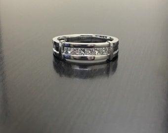 18K Gold Men's Princess Cut Diamond Engagement Ring - 18K White Gold Men's Diamond Ring - 18K Diamond Band - 18K Diamond Ring - Men's Ring