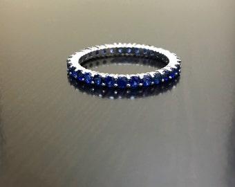 14K White Gold Eternity Sapphire Engagement Band - Art Deco 14K Gold Blue Sapphire Wedding Band - 14K Ceylon Blue Sapphire Eternity Band