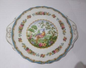 Royal Albert Chelsea Bird Blue Handled Cake Plate