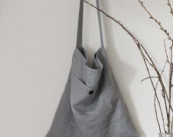 Cross body linen tote made to order, Linen market bag, Messenger bag