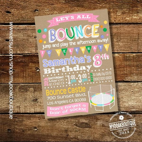Trampoline Party Birthday Invitation Bounce House Jump Invite Kraft
