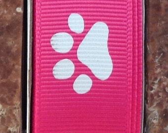 "2 Yards 7/8"" Shocking Pink with White Animal Paw Print  Grosgrain Ribbon - Team - Cheer - School - US Designer"