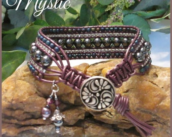 MYSTIC Gemstone Leather Wrap Bracelet, 5 Row, Silver, Grey, Purple, Vintage Style. Boho Style, Beded Leather Cuff, Handmade, Ravengirl