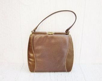 Vintage Brown Purse by Johansen, Mid Century Ladies Purse or Handbag, Retro Handbag, Mad Men Style