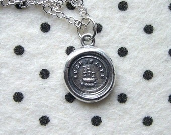 Ship necklace - Such is life - Wax seal pendant - Galleon - Victorian - Silver - UK