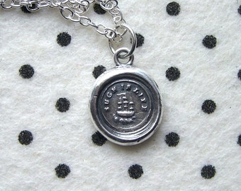Boat necklace - Such is life - Wax seal pendant - Galleon ship - Victorian - Silver - UK