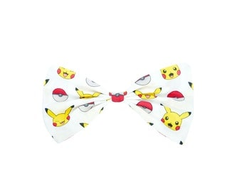 Pokeball Pikachu Large Hair Bow Clip Red, Yellow and White Pokemon Fabric Hairbow