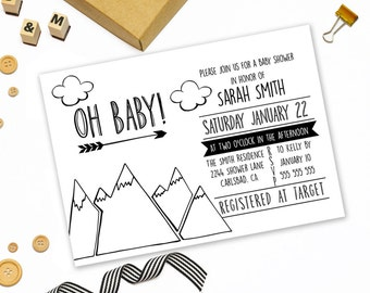 Modern baby shower invitation printable, black and white baby shower invitation, adventure begin invitation, mountains shower invitation,