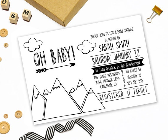 Modern Baby Shower Invitations: Modern Baby Shower Invitation Printable Black And White Baby