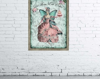 INSTANT DOWNLOAD, Marie Antoinette Digital Picture 8x10, Shabby Chic Digital Art, Print On Fabric, Scrapbooking Image, Digital Art Print
