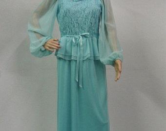 Unworn vintage dress pale blue lace layered sheer sleeves size 12 1970's