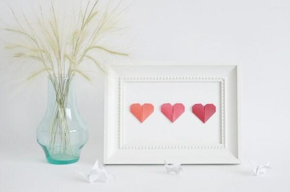 Japanese Wedding Gift Card : Love Card Origami gift Handmade card Tiny gift Heart art