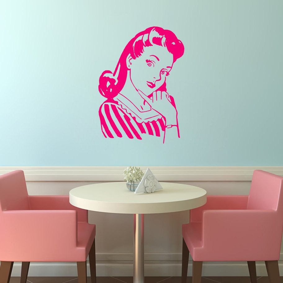 Wall decal retro woman kitchen wall sticker funny wall - Funny kitchen wall decals ...