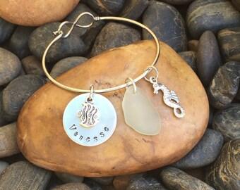 Seahorse Sea Glass Bracelet   Beach Bracelet   Nautical Bracelet   Beach And Nautical Jewelry   Sea Glass Jewelry   Seahorse Jewelry