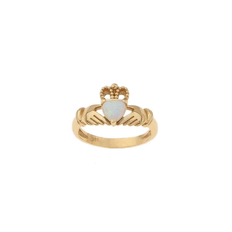 Gold Claddagh Ring Opal Claddagh Ring Traditional Irish Ring