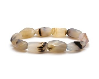 Montana Agate Bracelet/ Facet Agate Bracelet/ White Agate Bracelet/ Agate Bead Bracelet