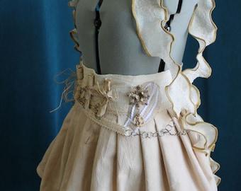 Steampunk Skirt with Hot Air Balloon & Antique Scrolls Mini Bustle xs, s, m, l, xl