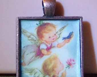 Vintage 1960s Christmas card angels bezel necklace pendant keychain