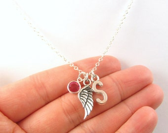 Wing Necklace- choose a birthstone and initial, Wing Jewelry, Angel Necklace, Angel Jewelry, Memorial Necklace, Memorial Jewelry, Child Loss